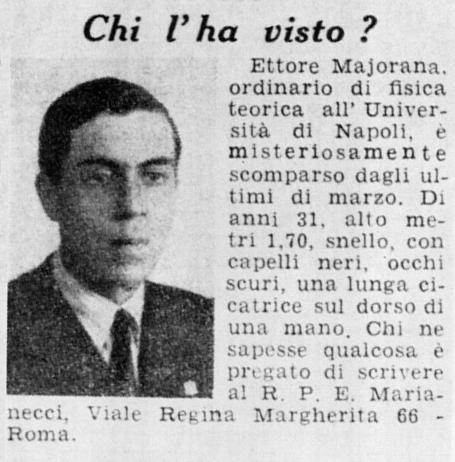 Misteri italiani: la scomparsa di Ettore Majorana