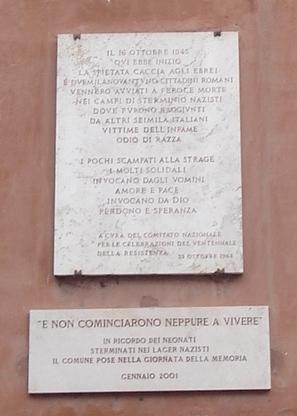 Targa a ricordo del rastrellamento del Ghetto di Roma